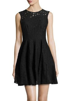 Nanette Lepore Lace Round-Neck Dress, Black