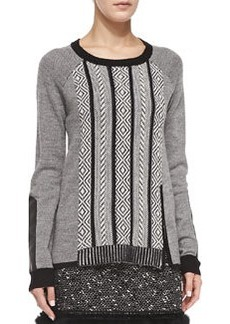Nanette Lepore Leather-Elbow Interwoven Pullover