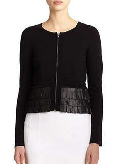 Nanette Lepore Leather Fringe-Trim Knit Cardigan