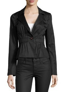 Nanette Lepore Linen-Blend One-Button Jacket, Black