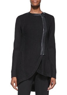 Nanette Lepore Long Leather-Trim Sweater Jacket, Black