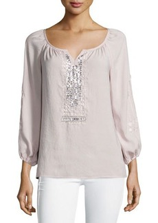 Nanette Lepore Long-Sleeve Embellished Peasant Blouse