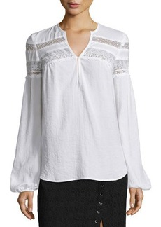 Nanette Lepore Long-Sleeve Embroidered-Lace Peasant Top