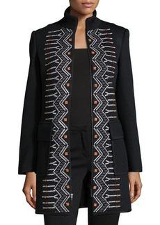 Nanette Lepore Long-Sleeve Funnel-Neck Embroidered Topper  Long-Sleeve Funnel-Neck Embroidered Topper