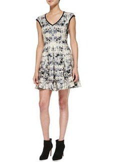 Nanette Lepore Love Crime Solid-Trim Floral Dress