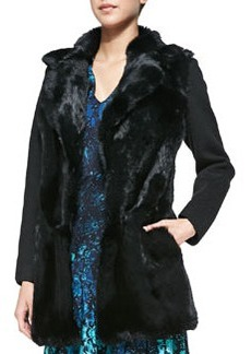 Nanette Lepore Luscious Rabbit-Fur/Knit Coat