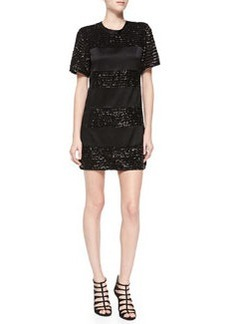 Nanette Lepore Lustrous Short-Sleeve Dress W/ Sequined Bands
