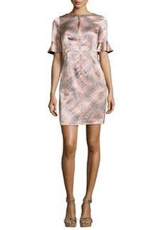 Nanette Lepore Marseille Flutter-Sleeve Silk Sheath Dress