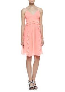 Nanette Lepore Merengue Silk Spaghetti Strap Dress, Punch Pink