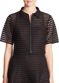 Nanette Lepore Mesh Stripe Cropped Jacket