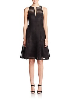 Nanette Lepore Mesh Stripe Fit-&-Flare Dress