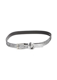 Nanette Lepore metallic black 3/4'' leather belt