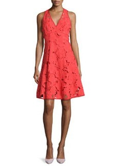 Nanette Lepore Mi Amor Sheath Dress with Cutwork Embroidery, Poppy