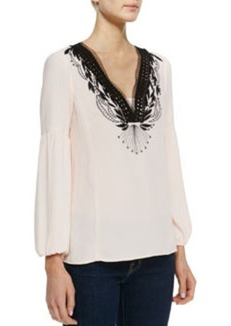 Nanette Lepore Moonlight Embroidered Silk Blouse