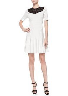 Nanette Lepore Murano Lace-Yoke Fit & Flare Dress