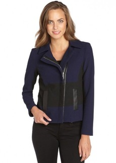 Nanette Lepore navy and black textured poly blend 'West Coast Jacket'