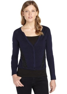 Nanette Lepore navy wool 'Patio' lace accent long sleeve cardigan