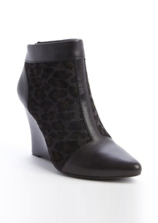 Nanette Lepore olive and black leopard print calfhair wedge heel booties