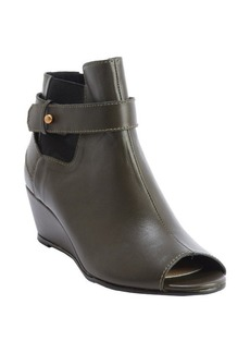 Nanette Lepore olive leather peep toe 'Scandalous' wedge heel booties