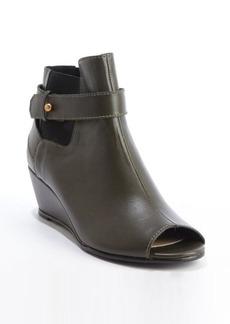 Nanette Lepore olive leather peep toe 'Vachetta' wedge heel booties