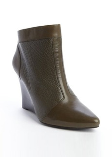Nanette Lepore olive leather rear zip 'Vachetta' wedge heel booties
