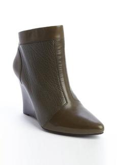 Nanette Lepore olive leather rear zip 'Vachetta' wedge heel booties