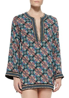 Nanette Lepore Paloma Contrast-Trim Printed Tunic