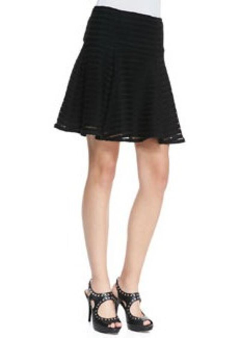 Nanette Lepore Paradise Sheer-Stripe Flounce Skirt
