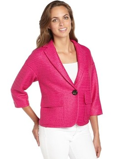 Nanette Lepore pink textured cotton blend raffia blazer