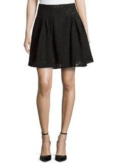 Nanette Lepore Pleated Jacquard Skirt, Black