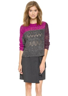 Nanette Lepore Pointelle Patch Crew Sweater