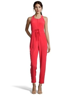 Nanette Lepore poppy red woven 'Sweet Reverie' bow detail jumpsuit