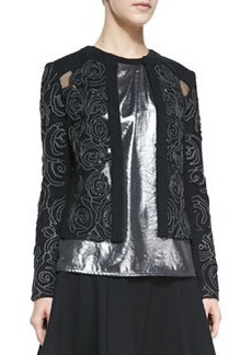 Nanette Lepore Protagonist Embroidered Sheer-Inset Jacket