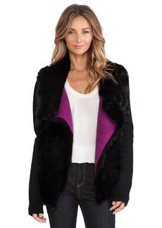 Nanette Lepore Rabbit Fur & Ribbed Jacket
