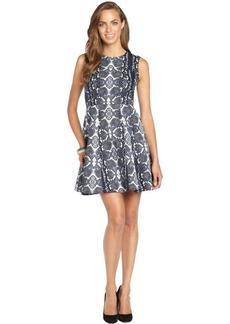 Nanette Lepore reptile navy and white cotton blend woven print 'Love Bites' dress