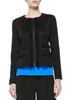 Nanette Lepore Rialto Tweed Jacket W/ Fringe Trim