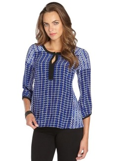 Nanette Lepore royal blue medallion print 'Coast To Coast' keyhole blouse