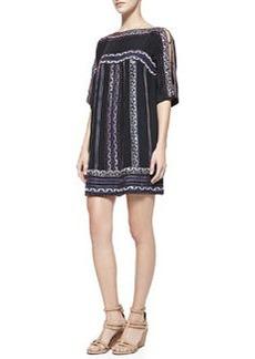 Nanette Lepore Run Wild Silk Boat-Neck Shift Dress