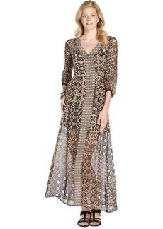Nanette Lepore sand multi print chiffon 'Apache' sheer maxi dress