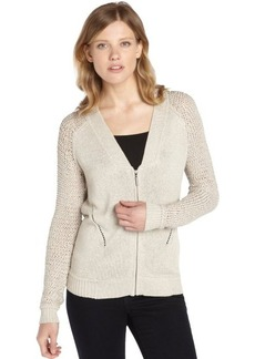 Nanette Lepore sand stretch 'Explorer' cable knit accent long sleeve cardigan
