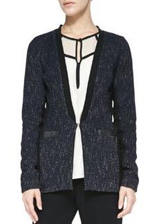 Nanette Lepore Scandal Leather-Trim Tweed Jacket