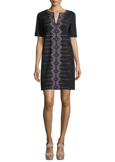 Nanette Lepore Short-Sleeve Embroidered Shift Dress  Short-Sleeve Embroidered Shift Dress