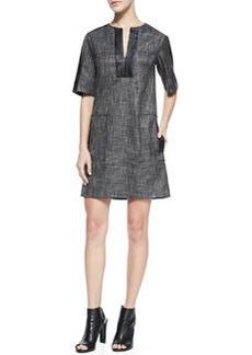 Nanette Lepore Short-Sleeve Leather-Bound Shift Dress