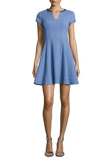 Nanette Lepore Short-Sleeve Textured Fit & Flare Dress  Short-Sleeve Textured Fit & Flare Dress