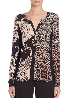 Nanette Lepore Silk & Knit Printed Top