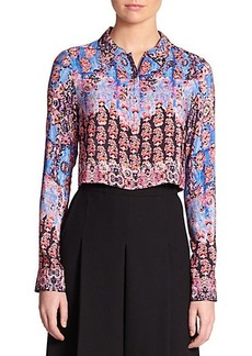 Nanette Lepore Silk Sultry Night Cropped Shirt