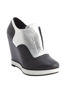 Nanette Lepore silver and black metallic leather wedge heel platform booties