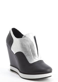 Nanette Lepore silver and black metallic leather wedge heel platform booties