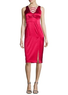 Nanette Lepore Sleeveless Lace-Up Satin Dress W/ Slit  Sleeveless Lace-Up Satin Dress W/ Slit