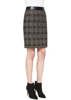 Nanette Lepore Sleuth Plaid Leather-Waist Skirt